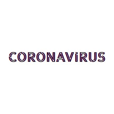 Inscription coronavirus glitch effect isolated on white background epidemic virus sick people in china