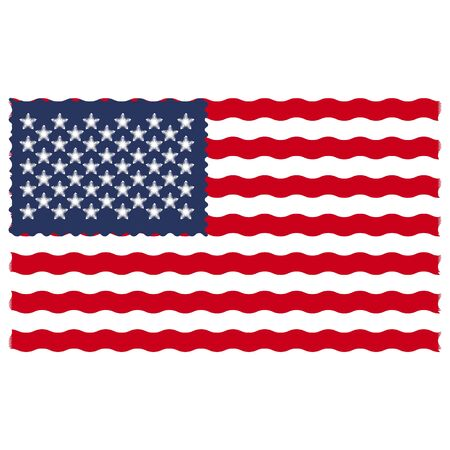 Flag of America with efect waves and blurbs for design politics patriotism isolated on white background 向量圖像