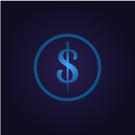 Icon dollar blue in circle money and finance, for app button donat, payment