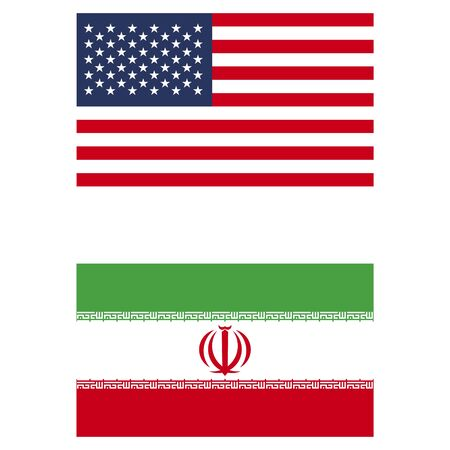 flag Iran and USA isolated on white background
