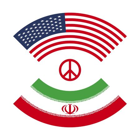 Iran vs America usa 3 world war, with sign of peace atomic bomb policy 2 flag isolated on white background no war make love