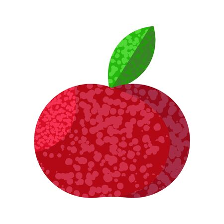Red apple or tomato, cherry with noises with green leek isolated white background