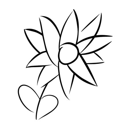 Flower doodle, cartoon, hand draw, isolated on a white background for packaging design, print on fabric, card, postcard, notebook, notepad, wallpaper. Bio, organic, natural. For cosmetics. Vector.