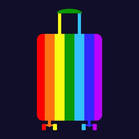 Rainbow suitcase for travel and adventure, removal of restrictions on flights, 7 colors of happiness, on dark purple background. ban on travel, adventure, trip, bag, briefcase on wheels 向量圖像