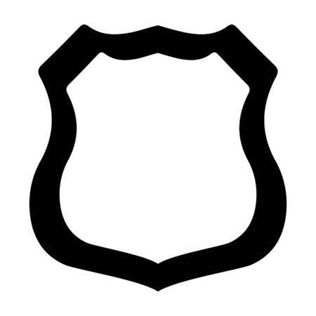 Badge police, security, sheriff, detective, for the inscription. Black silhouette, isolated on white background, vector. 向量圖像