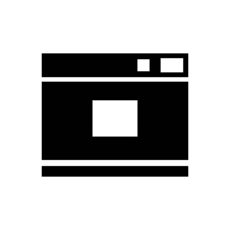 Camera Icon, for photo studios, documents, model photo. A black silhouette isolated on a white background. Symbol for the design of mobile app, game. Vector