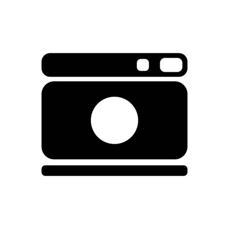 Camera Icon, for photo studios, documents, model photo. A black silhouette isolated on a white background. Symbol for the design of mobile app, game. Vector.