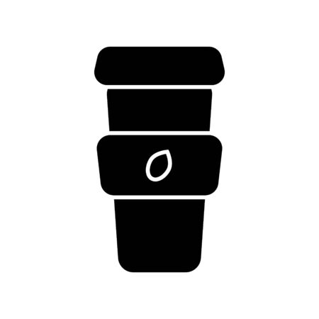 Cup of coffee to take away, with coffee beans on the package, logo for the coffee shop. Black silhouette, isolated on white background, vector.