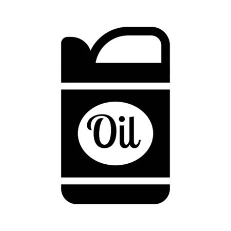 Oil canister for motor car machine Black silhouette, isolated on white background, vector. 向量圖像