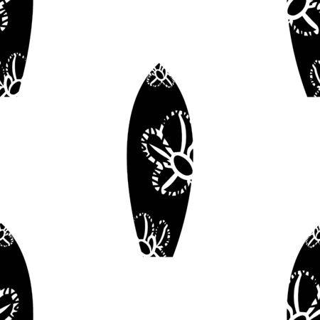 Surf board seamless pattern, summer beach festival, wave conquering. Black silhouette with white doudle flower, isolated on white background, vector. 向量圖像