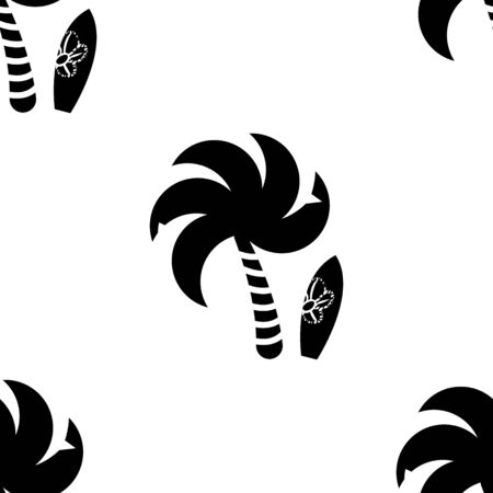 Palm with surfboard seamless pattern, recreation and resort in the tropics, on the sea. Travel to the south. Isolated element for design on white background 向量圖像