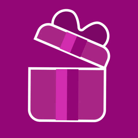 pink gift opens, present, reward, on purple background, icon for birthday, gift for new year and christmas
