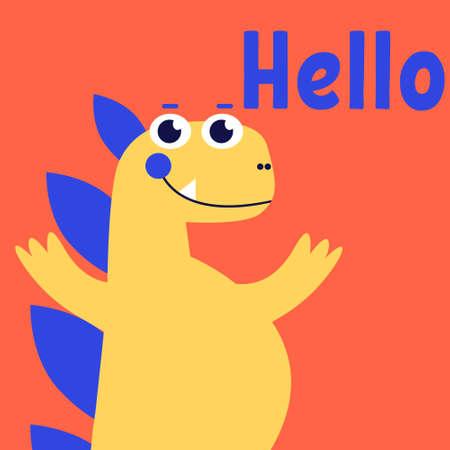 Cute dinosaur talking say hello, Jurassic dino for kids, baby, childrens fashion, lizard, extinction, vector illustration 向量圖像