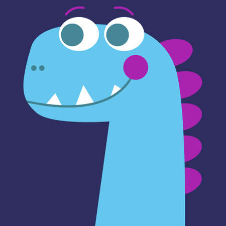 Blue dinosaur smiles, for baby, children. A cute dino with pink blush. On a dark purple background. Vector.