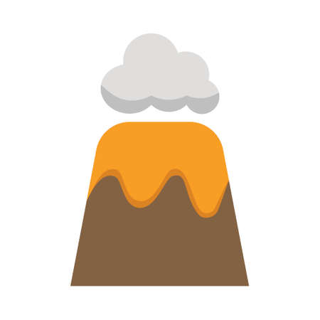 Volcano vector flat icon. Isolated Volcano mountain, lava, crater, hot magma. Vector illustration. 向量圖像