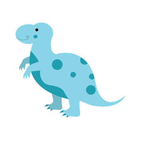 Dinosaur tyrannosaurus cute in flat style for designing dino party, children, kids holiday, dinosaurus related materials. For card, poster, wallpaper, banner. Jurassic park theme.
