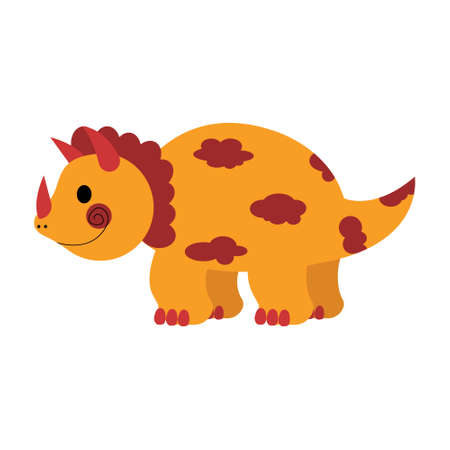 Dinosaur triceratops cute in flat style for designing dino party, children, kids holiday, dinosaurus related materials. For card, poster, wallpaper, banner. Jurassic park theme.