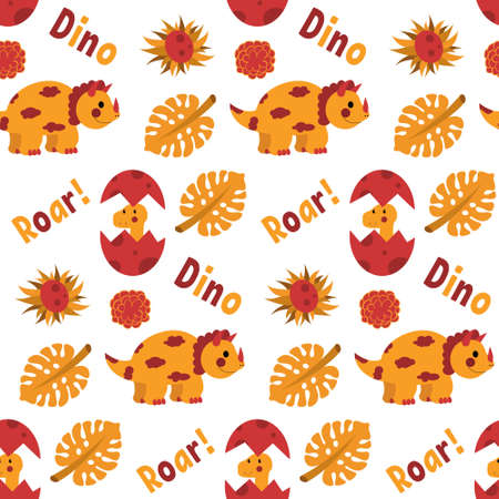 Pattern seamless with dinosaurs, in an autumn palette on a white background, sample for printing or packaging, postcard, banner, poster. Orange and red. Dino roar, vector illustration.
