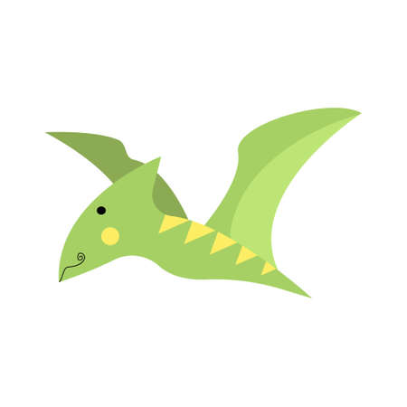 Dinosaur pterodactyl, pterosaur cute in flat style for designing dino party, children, kids holiday, dinosaurus related materials. For card, poster, wallpaper, banner. Jurassic park theme.