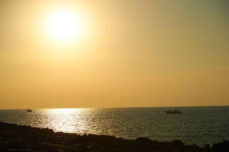 horizon over water: sunset over the sea Stock Photo