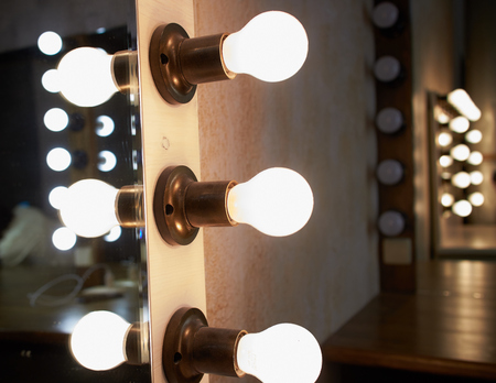 lighting in dressing room Archivio Fotografico