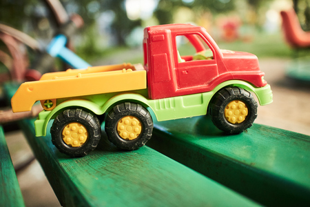 toy truck on the bench
