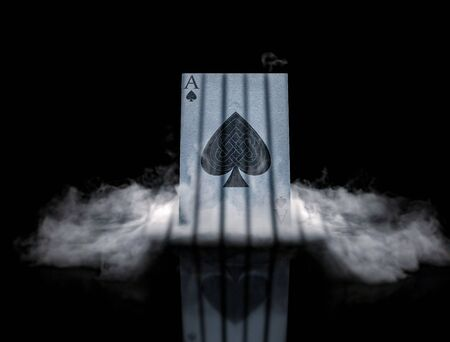 POKER card in smoke ace of spades background, wallpaper