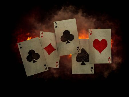 play card poker Full House card in smoke and fire background, wallpaper