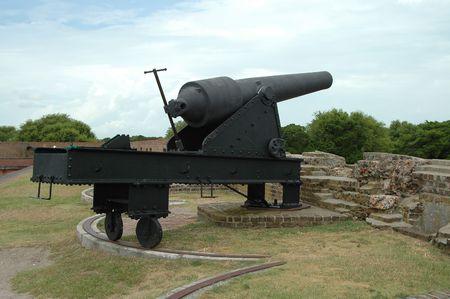 breach: Civil war cannon, Fort Pulaski, Savannah, Georgia
