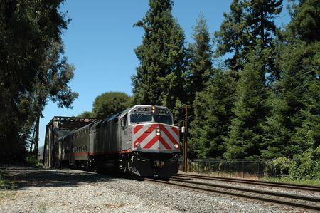constitutionality: San Francisco Peninsula commuter train, Palo Alto, California Stock Photo