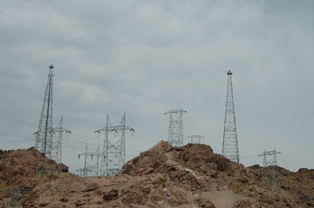 Power transmission towers, Hoover Dam, Boulder City, Nevada photo