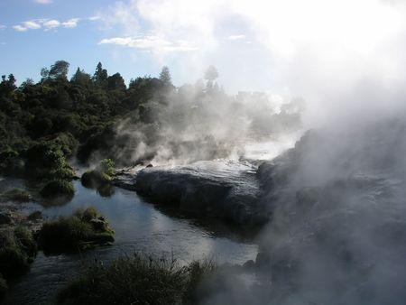 methane: Geothermal vents, Rotorua, New Zealand Stock Photo