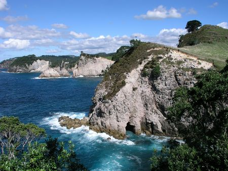 Coastal cliffs, Bay of Plenty, Coromandel Peninsula, North Island, New Zealand Stock Photo