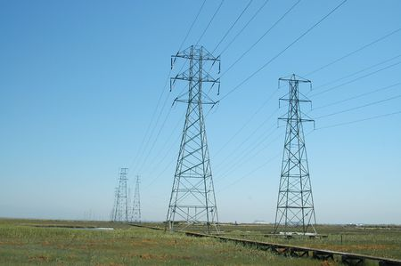 Power transmission towers, Baylands Nature Preserve, Palo Alto, California Stock Photo