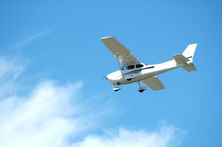 Light plane landing, Palo Alto Airport, California Stock Photo