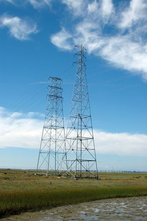 alto: Power transmission towers, Baylands Nature Preserve, Palo Alto, California Stock Photo
