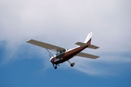 Light plane landing, Palo Alto Airport, California photo