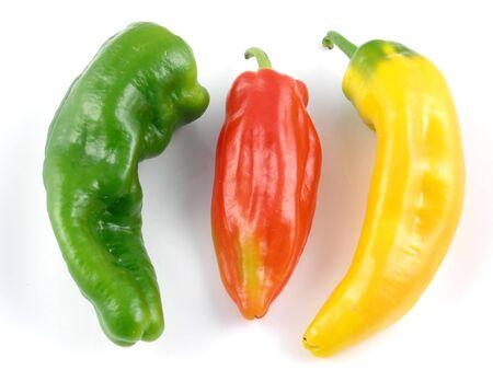 heirloom: Green, red & yellow Italian heirloom peppers Stock Photo