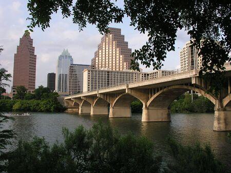 Congress Street Bridge to downtown Austin, Texas