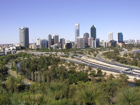View of Perth, Western Australia skyline from the Anzac Memorial