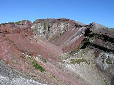 inactive: Mount Tarawera volcanic crater near Rotorua, North Island, New Zealand