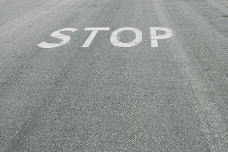 Stop painted on the road
