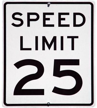 最高速度毎時 25 マイルの標識、孤立した背景