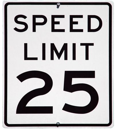 Speed Limit 25 MPH sign, isolated background photo