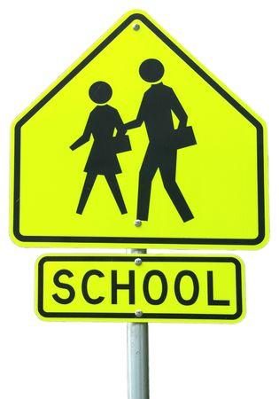 School Ahead sign Stock Photo
