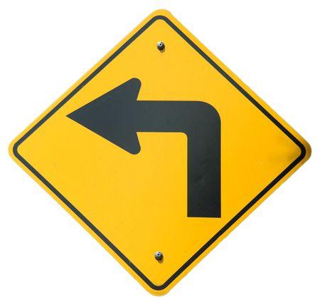 turn left: Sharp rimasto segno Archivio Fotografico