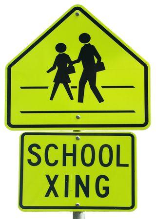 crosswalk: School Crossing sign Stock Photo