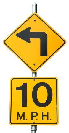 mph: Sharp Left - 10 MPH signs