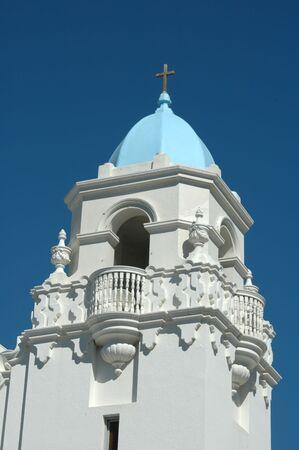 livermore: Tower & balcony, St. Michaels Church, Livermore, California Stock Photo