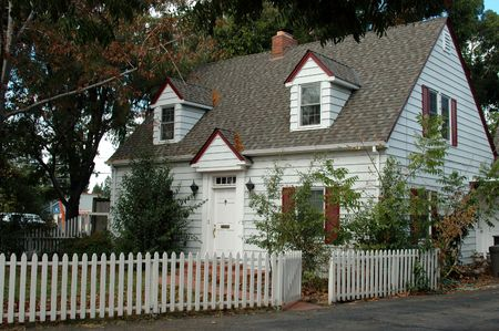 White house with picket fence, Campbell, California photo